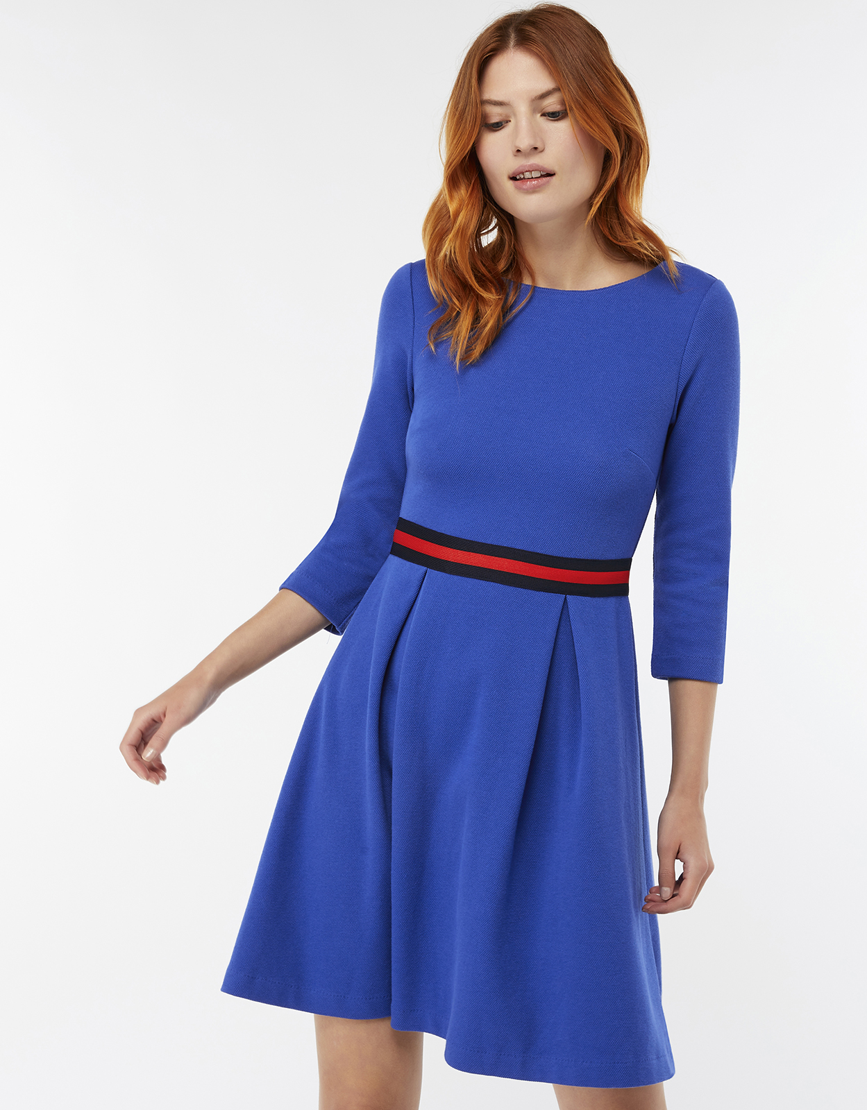 Monsoon Bea Textured Fit & Flare Dress